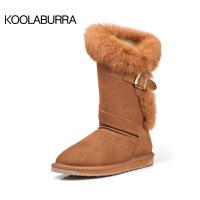 兔毛高筒雪地靴女冬季真皮加绒保暖棉靴防滑女雪地靴子SN7991