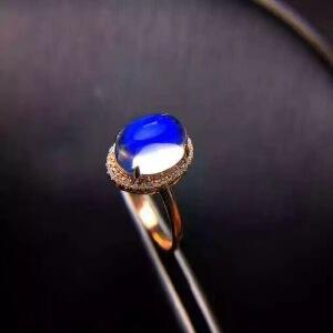 纯天然玻璃体蓝月光石戒指