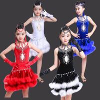高档儿童拉丁舞演出服装夏女童舞蹈裙比赛服少儿标准艺考级规定服