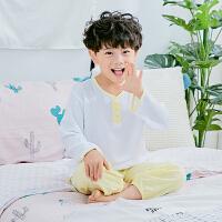 夏季儿童棉绸睡衣套装男童女童长袖男孩宝宝绵绸空调服薄款家居服