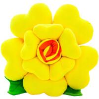 玫瑰花抱枕靠垫花朵可爱毛绒玩具卡通创意春节礼物靠背沙发汽车
