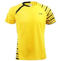 李宁(LI-NING)圆领羽毛球服吸汗速干男款运动短袖T恤