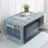 北欧格兰仕厨房微波炉防尘盖布美的烤箱帘保护垫套时尚罩通用棉麻