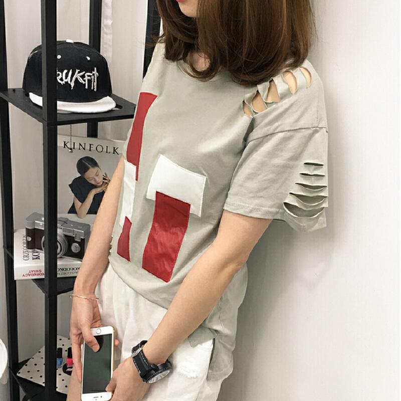 少女2018春夏装新款韩版短袖t恤初中高中学生破洞百搭打底体恤衫