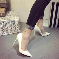 鞋子女2018新款裸色细跟高跟鞋 尖头黑色工作单鞋女漆皮蓝色大码 白色 10厘米