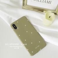 抹茶绿简约波点苹果XS/Max/XR手机壳iPhone8plus/6s女款硅胶软套