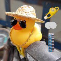 抖音同款破风小黄鸭车载摆件电瓶自行车网红后视镜摩托汽车外装饰