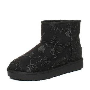 Teenmix/天美意2017冬黑色纺织品刺绣雪地靴女短靴(仿毛里)58503DD7