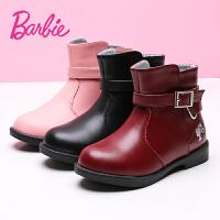 芭比女童靴子儿童真皮靴冬季2017新款韩版加绒公主百搭二棉短靴潮