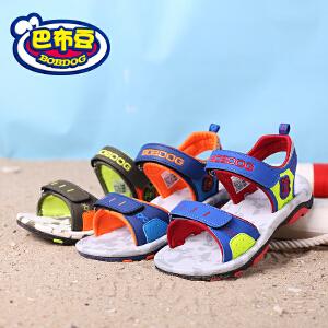 巴布豆童鞋 2018夏季新款韩版儿童防滑露趾沙滩中大童运动凉鞋