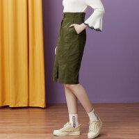 【1件3折到手价:50.7】美特斯邦威女装半身裙女秋装新款修身显瘦棉布学生小A中长裙