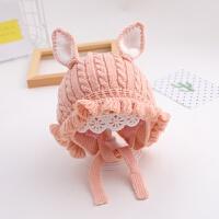 女宝宝帽子冬季婴儿毛线帽6个月-2岁1针织公主帽潮护耳宝宝帽子冬 均码