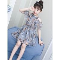 女童连衣裙夏装新款超洋气儿童公主裙小女孩碎花露肩裙子夏季