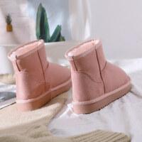 冬季新款雪地靴女网红短靴子短筒保暖雪地棉鞋学生韩版百搭潮 粉色