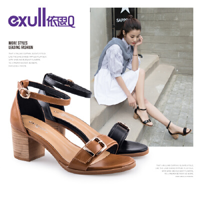 依思q夏季新款时尚简约方扣一字带女鞋粗跟高跟凉鞋