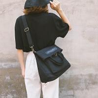 帆布包女学生韩版原宿ulzzang 高中学生双肩背包单肩斜挎手提书包 黑色 正面一个大兜