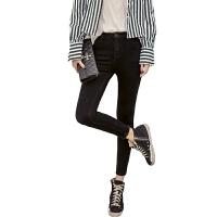 黑色牛仔裤女小脚裤2018春装新款弹力八分长裤高腰紧身铅笔九分裤