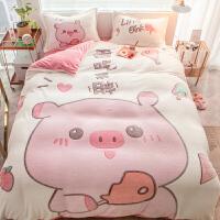 卡通珊瑚绒四件套床上用品双面绒加厚法兰绒被套秋冬季法莱绒床单