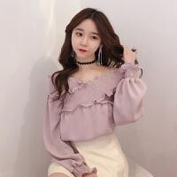 雪纺衫女长袖气质上衣春装2018新款韩版性感露肩一字领宽松打底衫