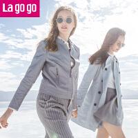 【秒杀价119.7】Lagogo/拉谷谷2019年秋季新款时尚个性拉链长袖PU外套