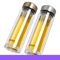 玻璃杯男女士双层隔热水杯子便携带盖过滤随手厚底泡茶杯jg6