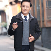 爸爸冬装外套加绒加厚款秋冬季爷爷夹克40中老年人50岁60中年男装