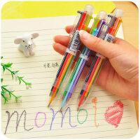日韩国创意可爱卡通多色圆珠笔 多功能按动彩色个性油笔文具6色笔 6色圆珠笔单支