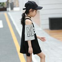女童连衣裙新款夏装韩版儿童时尚公主裙中大童露肩洋气裙子潮