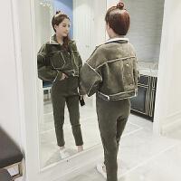 韩版时尚加厚仿羊羔毛短外套两件套秋新款灯芯绒高腰长裤套装女装