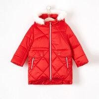 【全场2件2.5折,到手价:112.3】moomoo童装女童棉服新款冬季长款连帽韩版潮中大童儿童棉袄