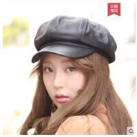 秋冬女士时尚羊皮八角帽保暖真皮棒球帽韩版潮帽皮帽