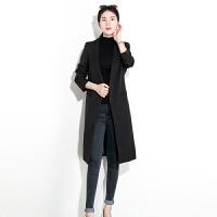 2018春秋季新款女装韩版休闲小西装外套女中长款显瘦女士小西服女 黑色