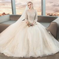 №【2019新款】冬天穿的主婚纱礼服新娘长袖V领一字肩法式齐地香槟色拖尾女