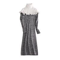 秋冬新款修身包臀打底衫针织连衣裙荷叶边加厚高领长款毛衣女套头 均码