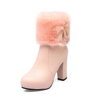 2018新款马丁靴女短靴女靴子毛毛靴甜美高跟鞋雪地靴粗跟冬季女鞋真皮