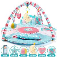 婴儿健身架器脚踏钢琴音乐游戏毯新生儿宝宝玩具0-1岁3-6-12个月 【新款】直径85CM 爱的小屋话筒MP3遥控充电