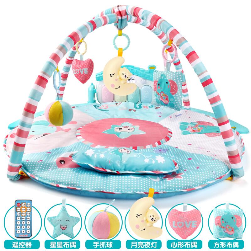 婴儿健身架器脚踏钢琴音乐游戏毯新生儿宝宝玩具0-1岁3-6-12个月 【新款】直径85CM 爱的小屋话筒MP3遥控充电 发货周期:一般在付款后2-90天左右发货,具体发货时间请以与客服协商的时间为准