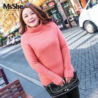 MsShe大码女装2017新款胖mm冬装韩版高领马海毛毛衣套头M1740452