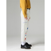 初语秋装新款 时尚个性净色微喇叭九分牛仔裤