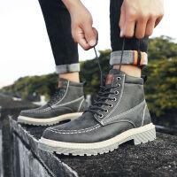 秋冬季男鞋马丁靴男士中帮雪地靴加厚高帮工装靴子男加绒保暖棉鞋