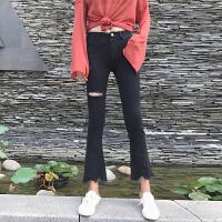 破洞牛仔裤女秋季新款韩版复古百搭不规则毛边显瘦喇叭裤九分裤潮