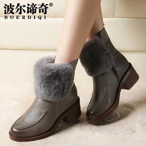 波尔谛奇2017秋冬新品牛皮棉靴粗跟短靴欧美风兔毛时装女靴子1643