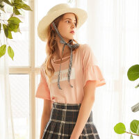 美特斯邦威2018夏季新款chic镂空短袖t恤女喇叭袖小心机上衣潮9