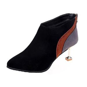 WARORWAR法国YM45-11072019新品冬季韩版磨砂反绒高跟鞋拼色女鞋潮流时尚潮鞋百搭潮牌裸靴