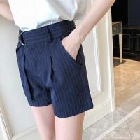 女装春装新款高腰阔腿A字短裤宽松显瘦条纹帅气B风西装裤女