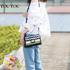 toutou2017新款包包女撞色波浪纹迷你百搭时尚小方包单肩斜挎包潮
