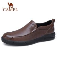 camel 骆驼男鞋 秋季新品英伦复古牛皮鞋防滑耐磨套脚商务休闲鞋