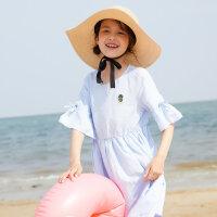 【1件2.5折到手价:63.8】moomoo童装女童裙装新款纯色休闲百褶女中童半袖棉麻连衣裙