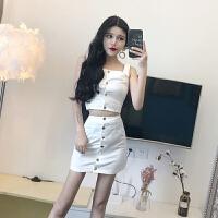 套装女夏2018新款修身显瘦吊带金属扣百搭上衣+休闲高腰牛仔短裙 白色