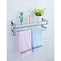 浴室卫生间304不锈钢单层玻璃置物架脸盆化妆厨卫储物架挂件
